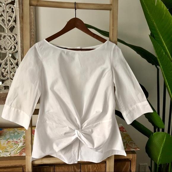 🦋Zara front knot white blouse